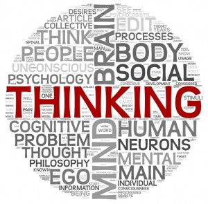 Thinking concept in word tag cloud on white backgroung